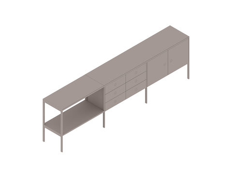 A generic rendering - H Frame Credenza–3 Units Wide