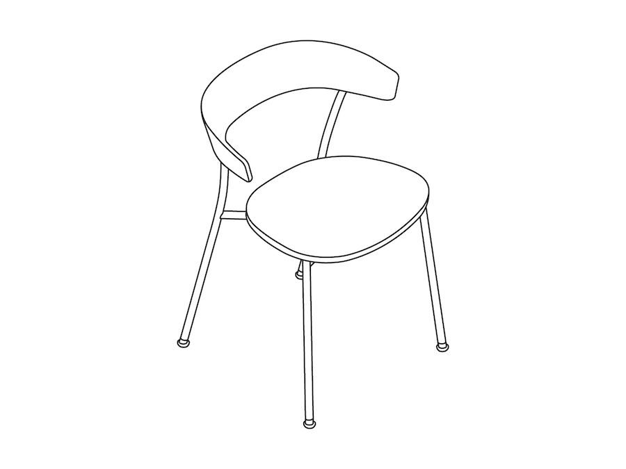 A line drawing - Leeway Chair–Metal Frame–Upholstered Seat