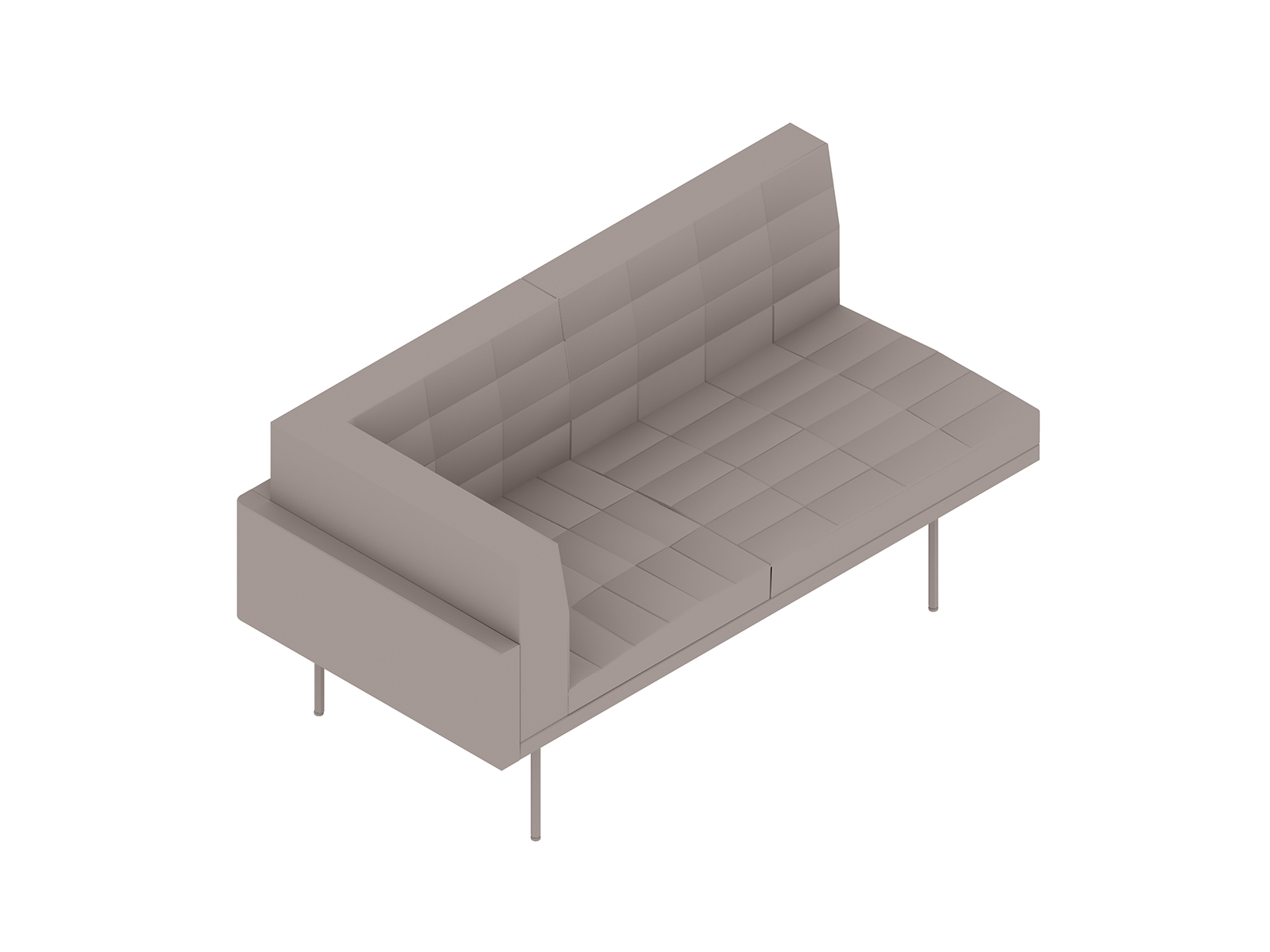 A generic rendering - Tuxedo Component Settee–Right Corner–Left Armless