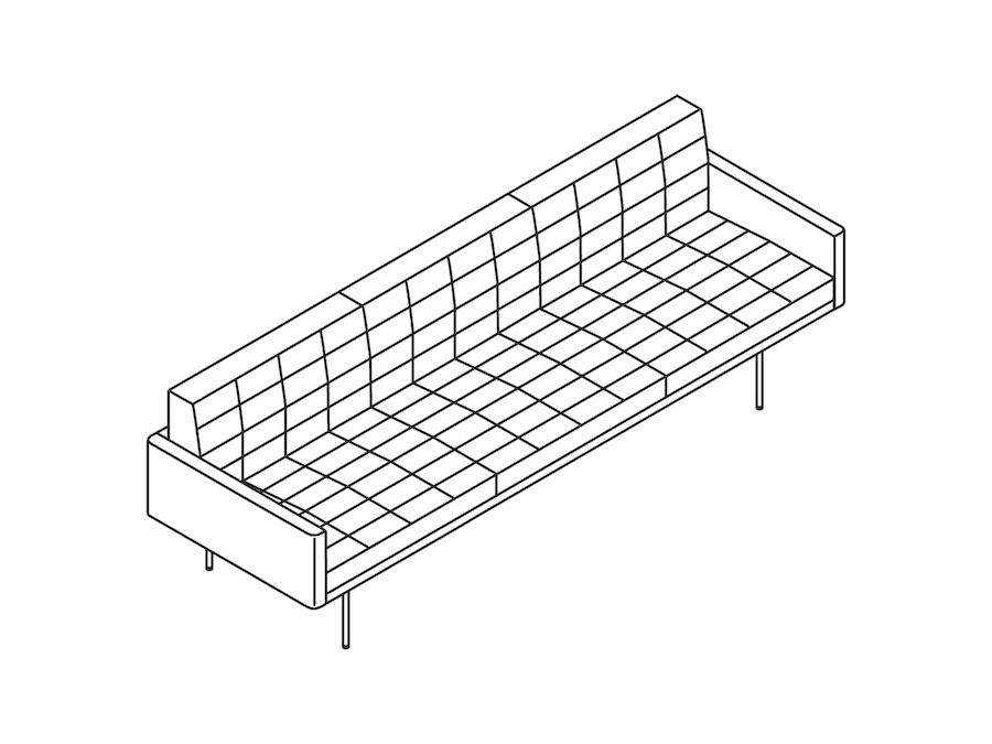 A line drawing - Tuxedo Component Sofa–With Arms