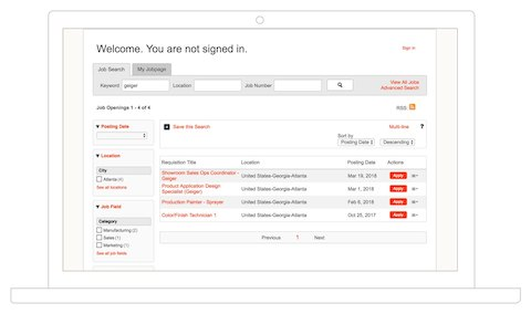 A screenshot from an online application for Geiger jobs through the Herman Miller job search portal.