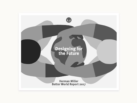 The cover of Herman Miller's Better World Report, showing an overhead graphic depiction of two people embracing planet Earth.