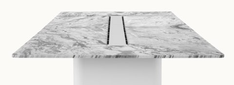 Axon Table with Georgia Grey Marble, viewed from the side.