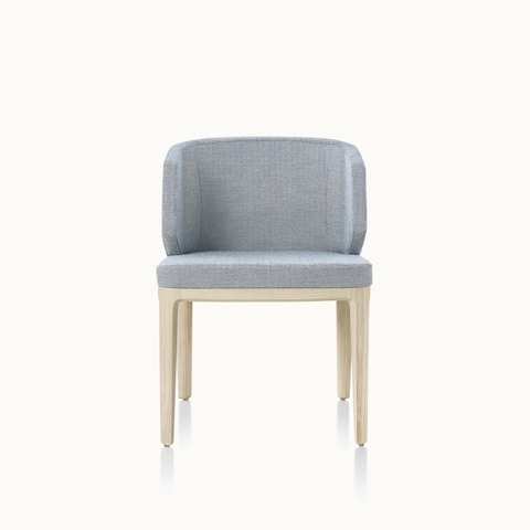 A wingback A Line side chair with light gray upholstery, viewed from the front.