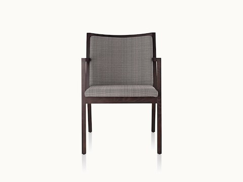 An Ascribe side chair with gray upholstery and a wood frame with a dark finish, viewed from the front.