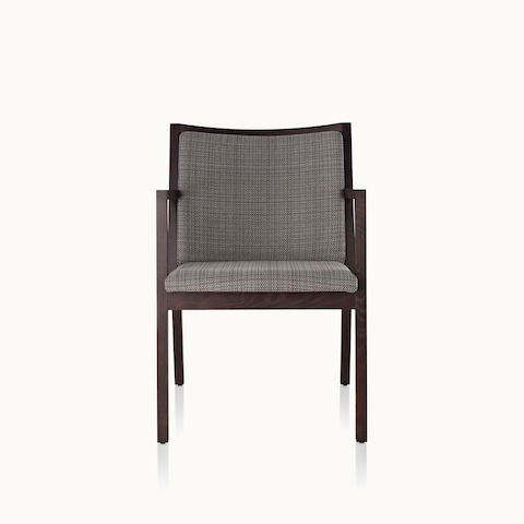 An Ascribe side chair with gray upholstery and a wood frame in a dark finish, viewed from the front.