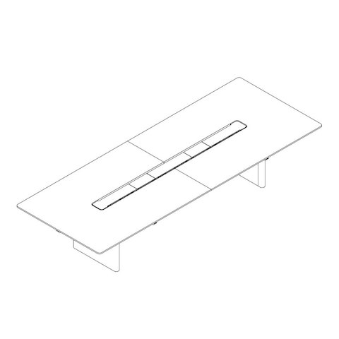 Line drawing of a rectangular Axon conference table, viewed from above at an angle.