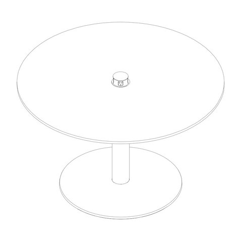 Line drawing of a round Axon conference table, viewed from above at an angle.
