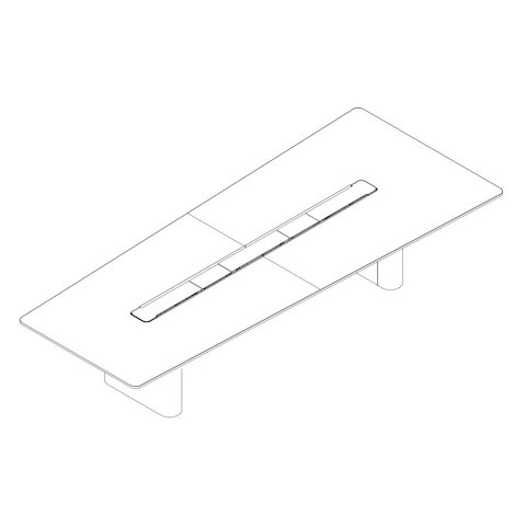 Line drawing of a rectangular Axon video conference table, viewed from above at an angle.