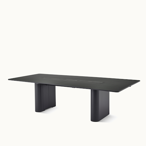 A rectangular Axon conference table with a Georgia Grey Marble top, viewed at an angle. Select to go to the Axon Tables product page.