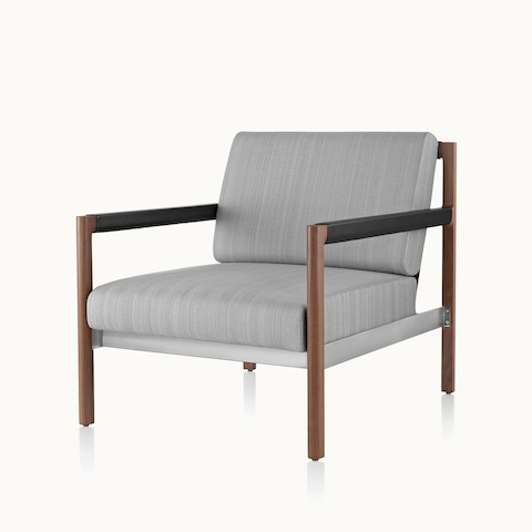 Angled view of a Brabo club chair with light gray upholstery. Select to go to the Brabo Lounge Seating product page.