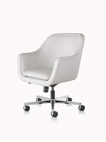 Angled view of a Bumper office or conference chair with off-white leather upholstery.