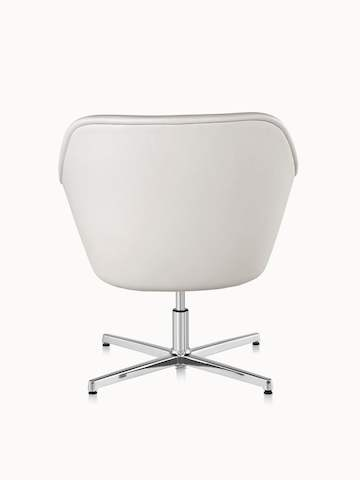 Rear view of a Bumper lounge chair with off-white leather upholstery.