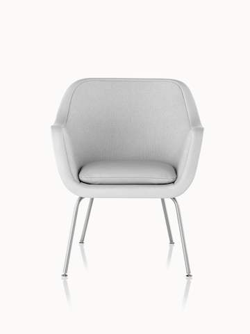 A Bumper side chair with light gray fabric upholstery, viewed from the front.
