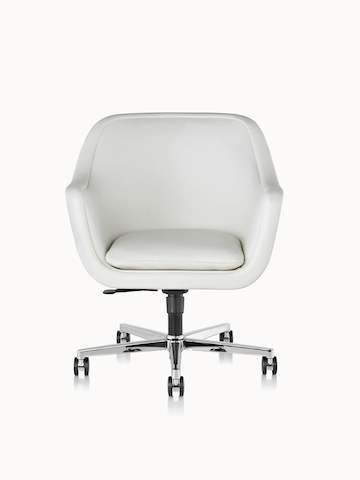 A Bumper office or conference chair with off-white leather upholstery, viewed from the front.