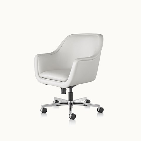 Angled view of a Bumper office or conference chair with off-white leather upholstery. Select to go to the Bumper Chairs product page.