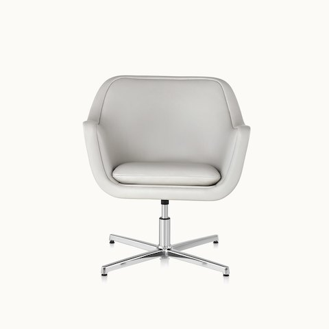 A Bumper lounge chair with off-white leather upholstery and a four-star swivel-return base, viewed from the front.