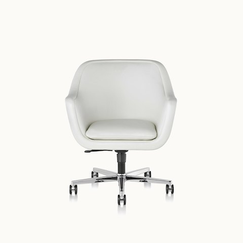 A Bumper office or conference chair with off-white leather upholstery and a five-star swivel base, viewed from the front.