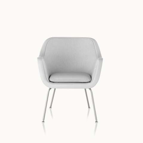 A Bumper side chair with light gray fabric upholstery and a four-leg base, viewed from the front.