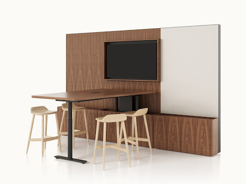 An executive workstation furnished with Geiger Rhythm Casegoods and blue Saiba Lounge and Side Chairs. Select to go to the Workstations landing page.