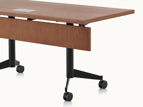 An MP Flex table in chocolate ash viewed from a three-quarter perspective.
