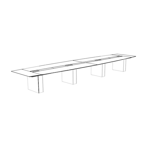 Line drawing of a boat-shaped Caucus conference table with a monolithic base, viewed at an angle.