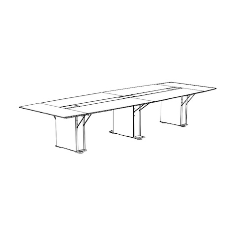Line drawing of a boat-shaped Caucus conference table with a plinth base, viewed at an angle.