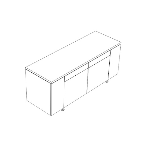 Line drawing of a Caucus credenza, viewed from above at an angle.