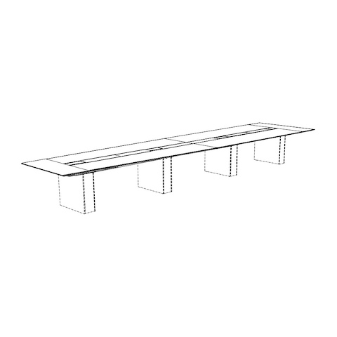 Line drawing of a half-boat-shaped Caucus conference table with a monolithic base, viewed at an angle.