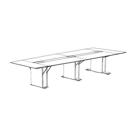 Line drawing of a half-boat-shaped Caucus conference table with a plinth base, viewed at an angle.