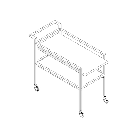 Line drawing of a Caucus hospitality cart, viewed from above at an angle.