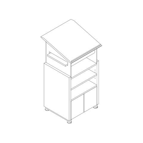 Line drawing of a Caucus lectern, viewed from above at an angle.