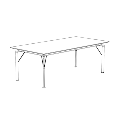 Line drawing of a lightweight Caucus table with a rectangular top, viewed at an angle.