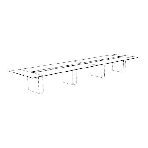 Line drawing of a rectangular Caucus conference table with a monolithic base, viewed at an angle.