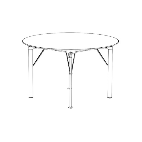 Line drawing of a lightweight Caucus table with a round top.