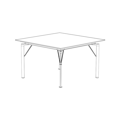 Line drawing of a lightweight Caucus table with a square top, viewed at an angle.