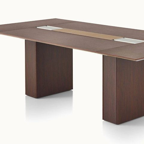 Angled view of a Caucus conference table with a monolithic base.