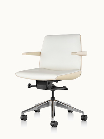 Angled view of a low-back Clamshell office chair with arms and white leather upholstery.