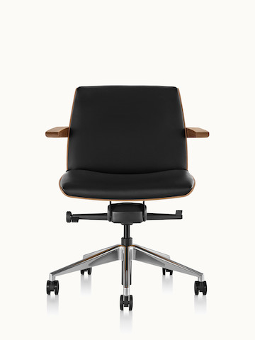A low-back Clamshell office chair with arms and black leather upholstery, viewed from the front.