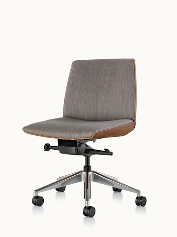Angled view of a low-back Clamshell office chair with gray upholstery and no arms.