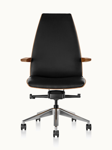 A high-back Clamshell office chair with arms and black leather upholstery, viewed from the front.