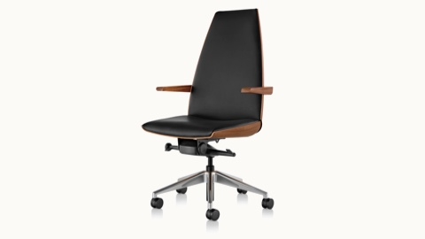 Angled view of a high-back Clamshell office chair with arms and black leather upholstery.