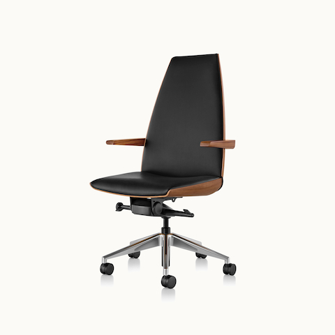 Angled view of a high-back Clamshell office chair with arms and black leather upholstery. Select to go to the Clamshell Chair product page.