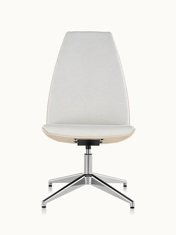 A high-back Clamshell Lounge Chair with off-white fabric upholstery, no arms, and a four-star base, viewed from the front.