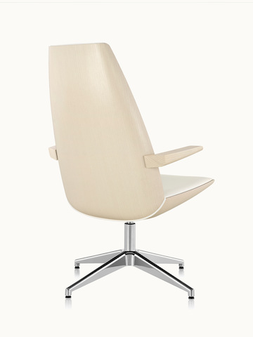 A high-back Clamshell Lounge Chair with a veneer shell in a light finish, viewed from behind at an angle.