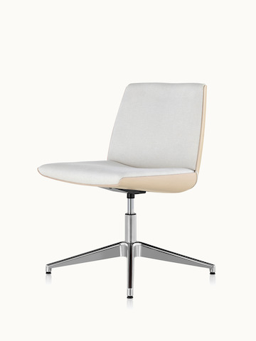 Angled view of an armless Clamshell Side Chair with off-white fabric upholstery.
