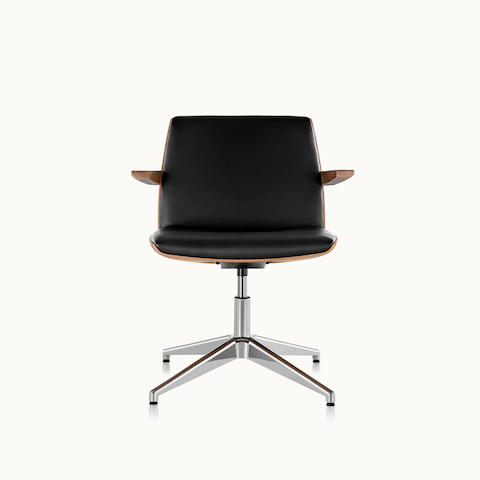 A Clamshell Side Chair with black leather upholstery and arms, viewed from the front.
