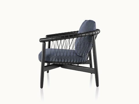Side view of a Crosshatch lounge chair with dark blue fabric and a black wood frame.