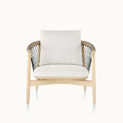 A Crosshatch lounge chair with off-white fabric and a light wood frame, viewed from the front.
