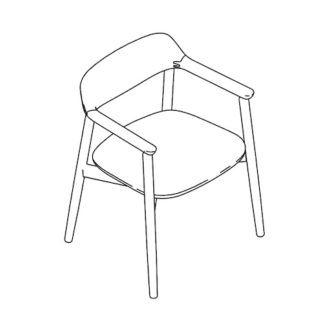 Line drawing of a Crosshatch Side Chair, viewed from above at an angle.